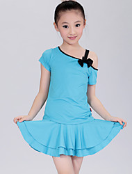 Latin Dance Performance Outfits Children's Simple Performance/Training Polyester Outfit Black/Blue/Fuchsia/Red Kids Dance Costumes