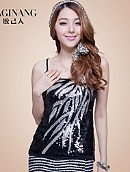 Women's Sexy/Plus Sizes Stretchy Sleeveless Short T-shirt (Sequin/Cotton/Elastic) GGN-553