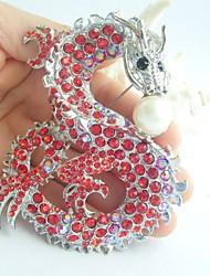 Women Accessories Silver-tone Red Rhinestone Crystal Dragon Brooch Art Deco Crystal Scarf Brooch Women Jewelry
