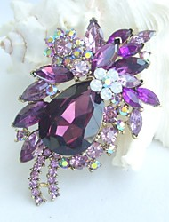 Women Accessories Art Deco Gold-tone Purple Rhinestone Crystal Brooch Bouquet Flower Brooch Women Jewelry