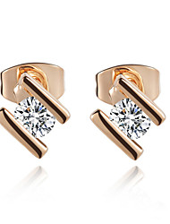 HKTC Fashion 18k Rose Gold Plated Tiny 0.25ct Cubic Zirconia Cz Simulated Diamond Stud Earrings
