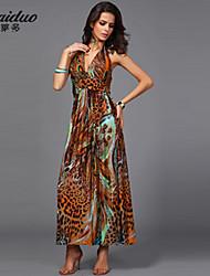 AOLD®Women's Beach/Print/Maxi/Plus Sizes Stretchy Sleeveless Maxi  beach Dress (Vicose/Polyester/Lycra)