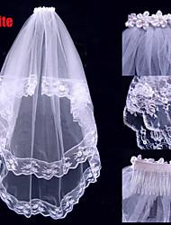 Wedding Veil Two-tier Elbow Veils Applique Edge