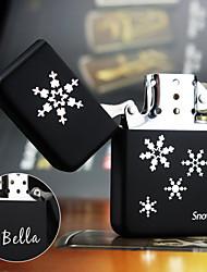 Personalized Gift Snow Design Stylish Steel Black Single Flame Flint Oil Lighter