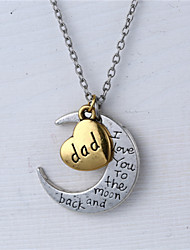 Father's Day Gift Zinc Alloy Heart and Moon Dad I Love You to the Moon and Back Necklace