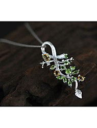 Sterling silver with natural quality with yellow bird branches crystal pendant
