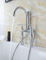 Contemporary  Brass Double Holes Double Cross Handles Bathroom Tub Shower Faucet with Hand Shower