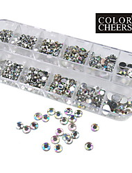 1200pcs ab kleur acryl diamant nail art decoraties 1,5 / 2/3/4/5/6 mm