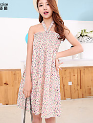 Women's Beach Loose Dress,Floral Strapless / Halter Above Knee Sleeveless Pink Polyester Summer