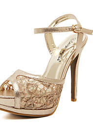 Women's Shoes Lace Stiletto Heel Peep Toe/Platform Sandals Dress Silver/Gold