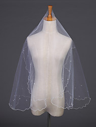Wedding Veil One-tier Elbow Veils Pencil Edge 59.06 in (150cm) Tulle White / Ivory