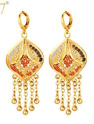 U7® Women's Pretty 18K Real Gold Plated Tassels with Little Beads Enamel Chandelier Earrings