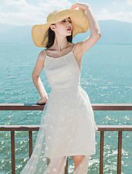 Women's Polka Dot/Solid Dress , Sexy/Beach Strapless/Strap Sleeveless Mesh/Backless