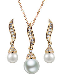 T&C Women's 18K Rose Gold Plated Vintage S-style Simulated Pearl Waterdrop Pendant Necklace Earrings Bridal Jewelry Sets