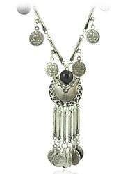 New Retro Antique Silver Color Tibetan style Long Coins Boho Necklace Tassel Pendant Necklace for women jewelry