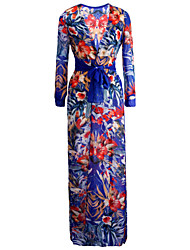 Damen Kleid - Swing Sexy / Party / Leger / Strand Druck Maxi Acryl / Polyester / Chiffon Tiefes V