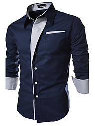 Men's Striped / Solid Casual / Work / Formal Shirt,Cotton Long Sleeve Black / Blue / Red / White