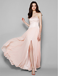 LAN TING BRIDE Floor-length Strapless Bridesmaid Dress - Furcal Sleeveless Chiffon Lace
