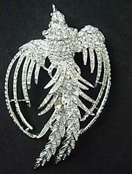 Women Accessories Silver-tone Clear Rhinestone Crystal Phoenix Brooch Art Deco Crystal Brooch