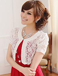 mariage enveloppe manches courtes en dentelle / polyester doux boléros noir / blanc / rose boléro shrug