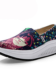Women's Shoes Canvas Wedge Heel Wedges/Crib Shoes Loafers Office & Career/Casual Blue/Green/Pink