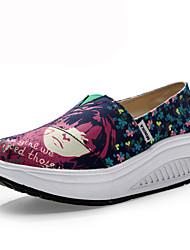 Zapatos de mujer - Tacón Cuña - Cuñas / Zapatos de Cuna - Mocasines - Oficina y Trabajo / Casual - Tela - Azul / Negro / Rosa