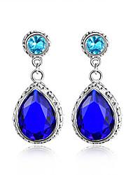 cadeaux de famille effervescent Millésime bleu topaze précieuses argent 925 boucles d'oreille suisses pour la noce quotidiennes 1pairs de