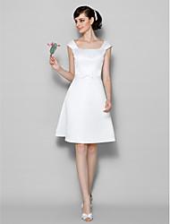 Knee-length Satin Bridesmaid Dress - Ivory A-line Scoop