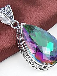 einzigartigen antiken Feuertropfen Regenbogen mystische Topaz-Edelstein 925 Silber Halsketten-Anhänger für Hochzeitsfest täglich Casual