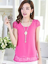 Women's Casual/Lace/Cute/Party/Work/Plus Sizes Micro-elastic Short Sleeve Regular Blouse (Chiffon)