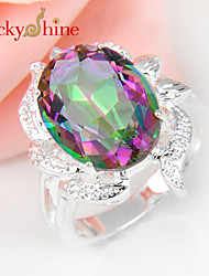 Lucky Shine Women's Men's Unisex Silver Classic Rings With Gemstone Fire Oval Rainbow Mystic Topaz Crystal Party Gift