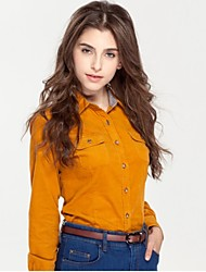 JAMES Fall Women's Thick Corduroy Long Sleeve Shirt/ Blouse with Solid Yellow Color Casual Fashion