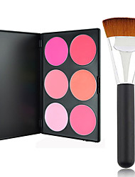 Pro Party 6 Colors Face Blush Blusher Powder Palette + Powder Brush