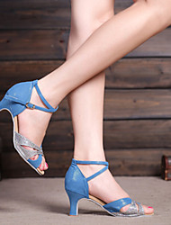 Non Customizable Women's Dance Shoes Belly/Latin/Salsa/Samba Suede/Synthetic Stiletto Heel Blue/Silver/Gold/Multi-color