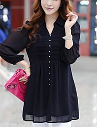 Women's Casual Inelastic Long Sleeve Long Blouse (Chiffon)