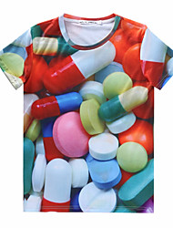Tee-Shirt Décontracté Pour des hommes Manches Courtes A Motifs Mélange de Coton