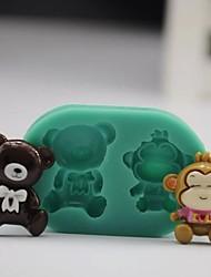 Bear Monkey Shaped Fondant Cake Mould Chocolate Silicone Mold/Decoration Tools For Kitchen Baking