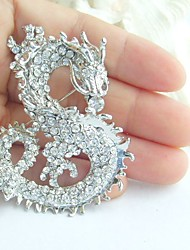 Women Accessories Silver-tone Clear Rhinestone Crystal Dragon Brooch Art Deco Crystal Brooch Pin