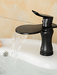 Contemporary Elegant Large Wide-mouth Waterfall Oil-rubbed Bronze Bathroom Sink Faucet (Short) - Black