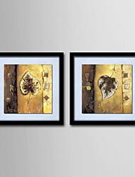 pintura a óleo abstrata decoração deixa a mão telas pintadas com esticada enquadrado - conjunto de 2