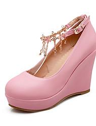 Women's Shoes Wedge Heel Wedges/Round Toe Pumps/Heels Dress Black/Pink/White