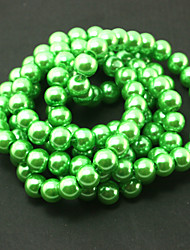 Beadia 2 Str(approx 230pcs) Glass Beads 8mm Round Imitation Pearl Beads Green Color DIY Spacer Loose Beads