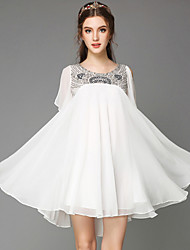 Summer Women's Luxury Vintage Bead Sequins Loose Plus Sizes Short Sleeve Chiffon Party Casual Dress