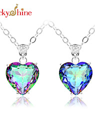 Men's Women's Couple's Pendant Necklaces Gem Silver Plated Topaz Red Blue Jewelry Wedding Party Daily Casual Sports 1pc