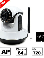Besteye® 16GB TF Card and HD720P H.264 P2P WIFI Camera IP 1.0M Pixels PTZ IR Night Vision Wired or Wirless Camera WIFI