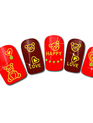 Bear Love Design Hot Stamping Nail Art Stickers