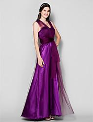 LAN TING BRIDE Longueur Sol Bretelles Robe de Demoiselle d'Honneur - Robe Convertible Sans Manches Tulle