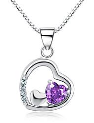 jazlyn® donna placcato in argento 925 amore viola cubi collana pendente del cuore di zirconia per il regalo