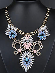 New Arrival Fashional Hot Selling Delicate High Quality Crystal Gem Flower Necklace