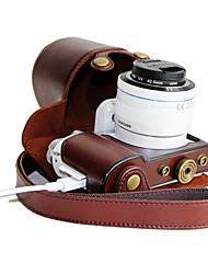 couro dengpin® pu câmera destacável saco caso cubra com alça de ombro para samsung nx3300 NX3000 (cores sortidas)